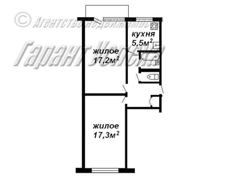 2-к квартира на Востоке, ул. Кривошеина 1/5 этажного панельного дома 1972 года постройки. Фото