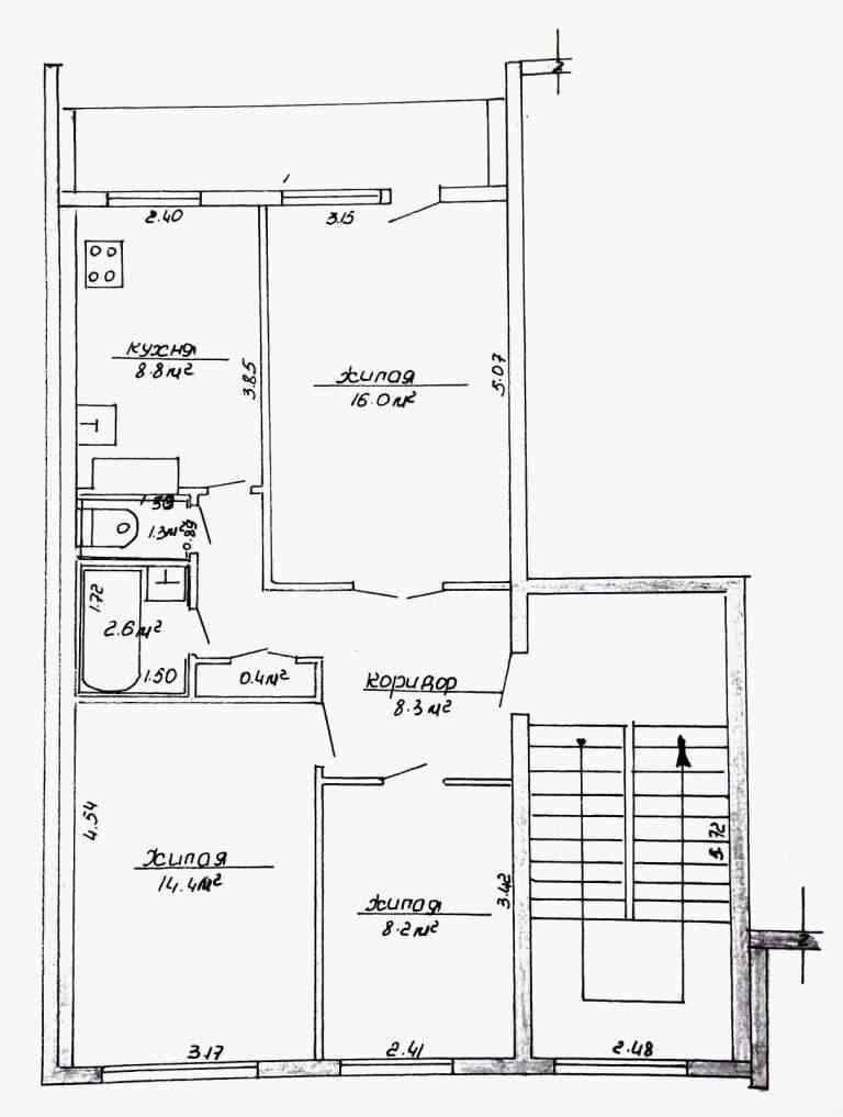 Продаётся 3-х комнатная квартира в г.п.Кореличи