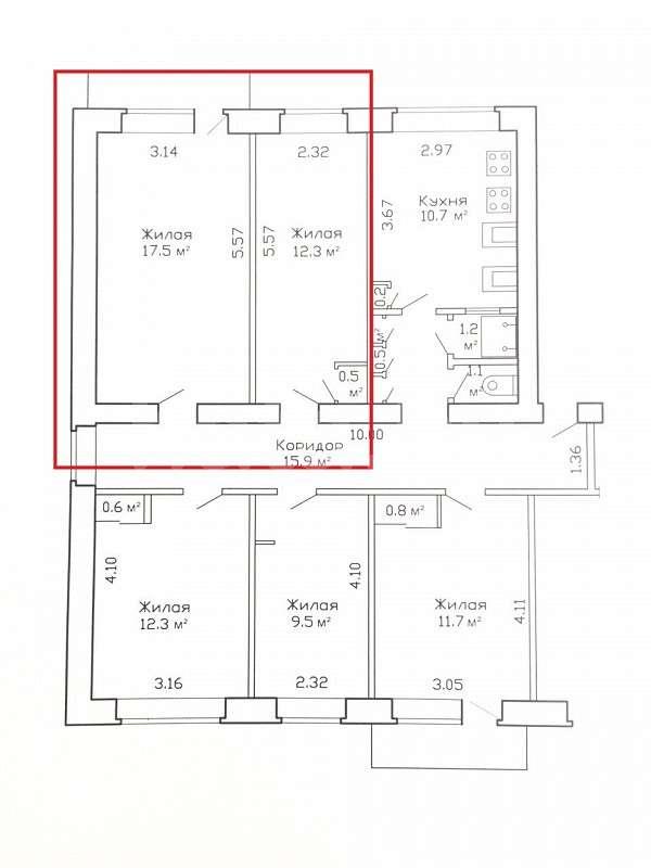 2 комнаты в 5-комн. кв-ре, ул. Гая